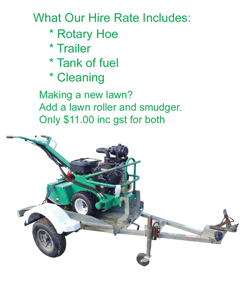 rotory hoe hire rate includes